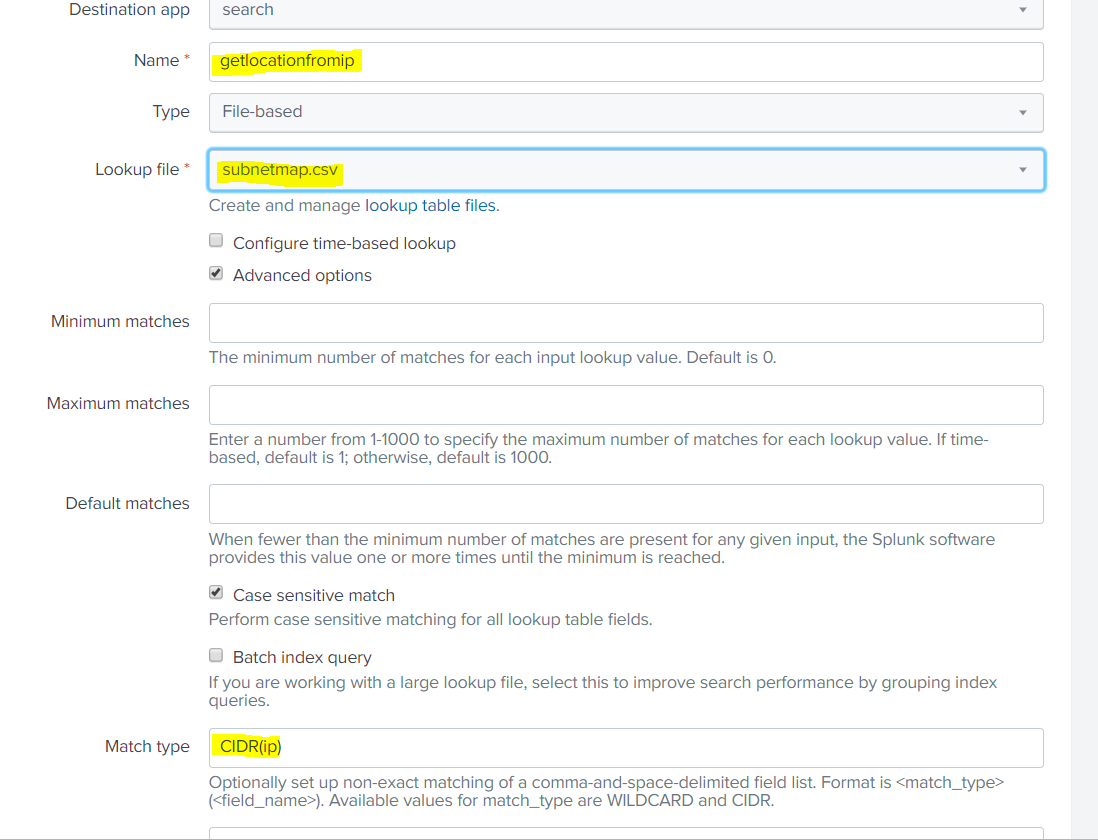 Splunk Lookups with cidr matching - Grumblesoft